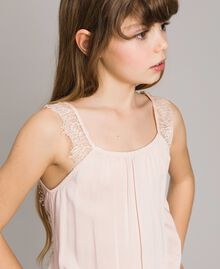 Tuta lunga in tessuto fluido e pizzo Rosa Blossom Bambina 191GJ2431-05