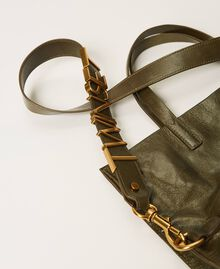 Foldable Twinset Bag leather shopper Dark Olive Green Woman 202TB7099-04