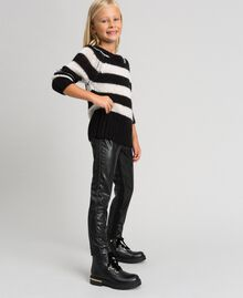 Faux leather leggings with rhinestones Black Child 192GJ2011-01