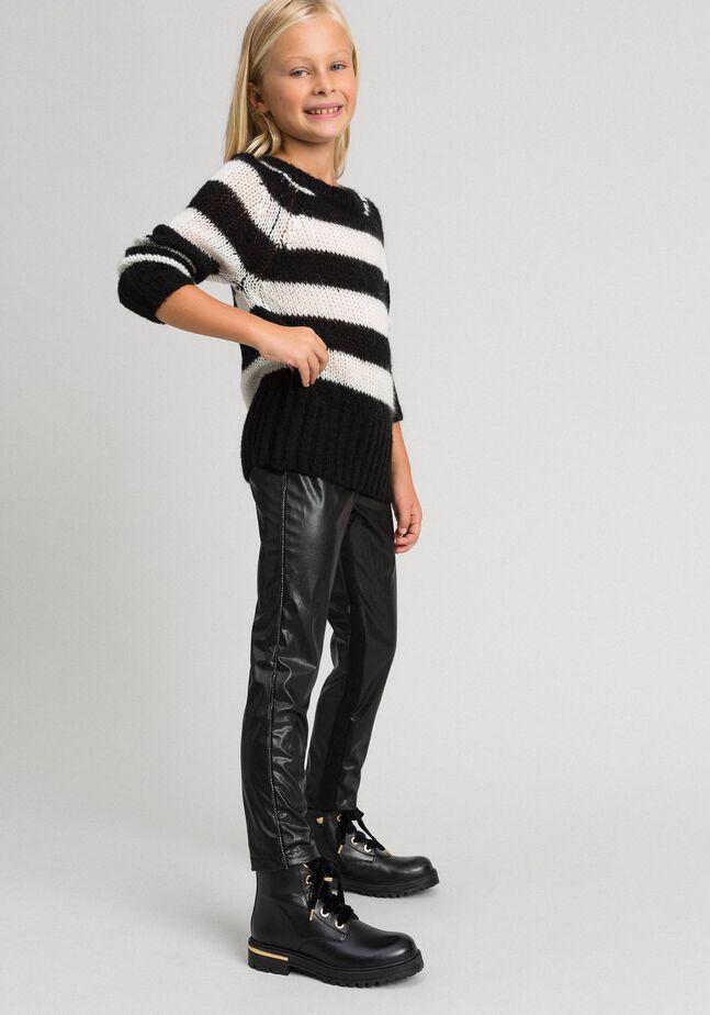 Legging en similicuir avec strass