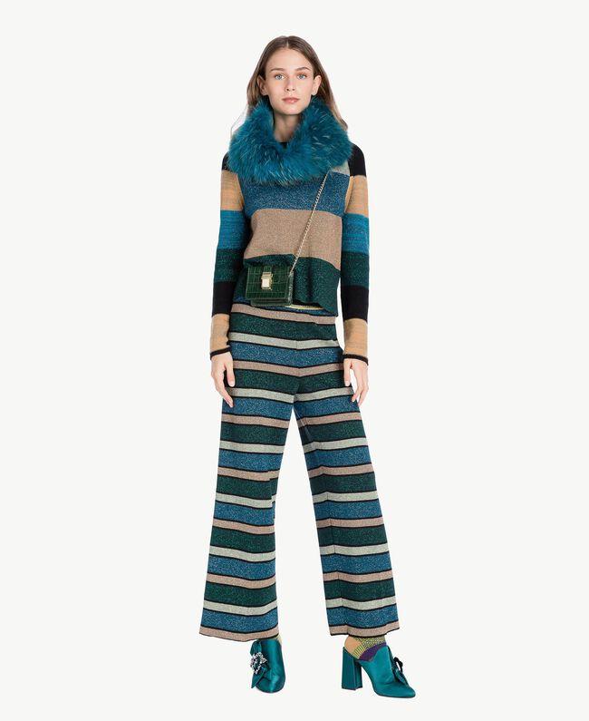 "Pantalón de rayas de lúrex Multicolor ""Azul Báltico"" PA7333-01"