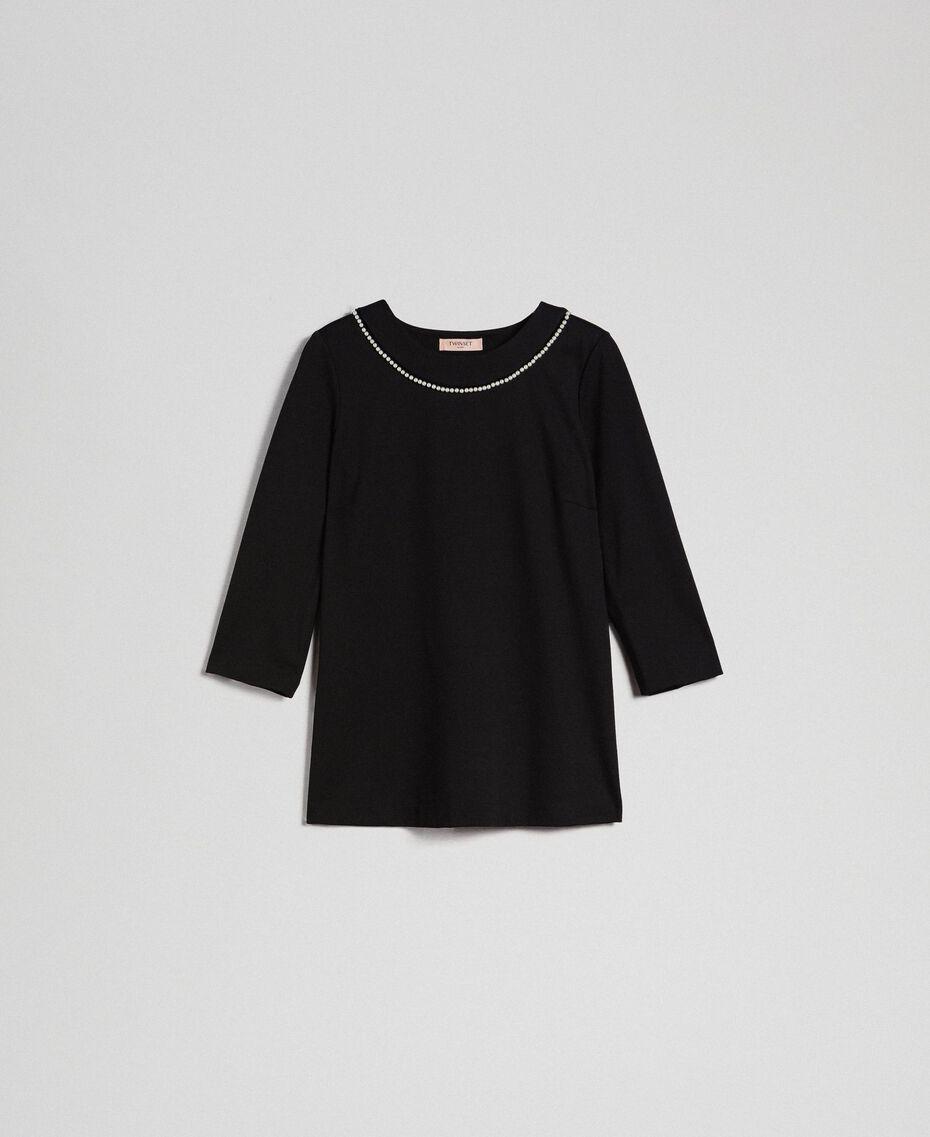 Blouse avec broderie de perles Noir Femme 192TP2080-0S