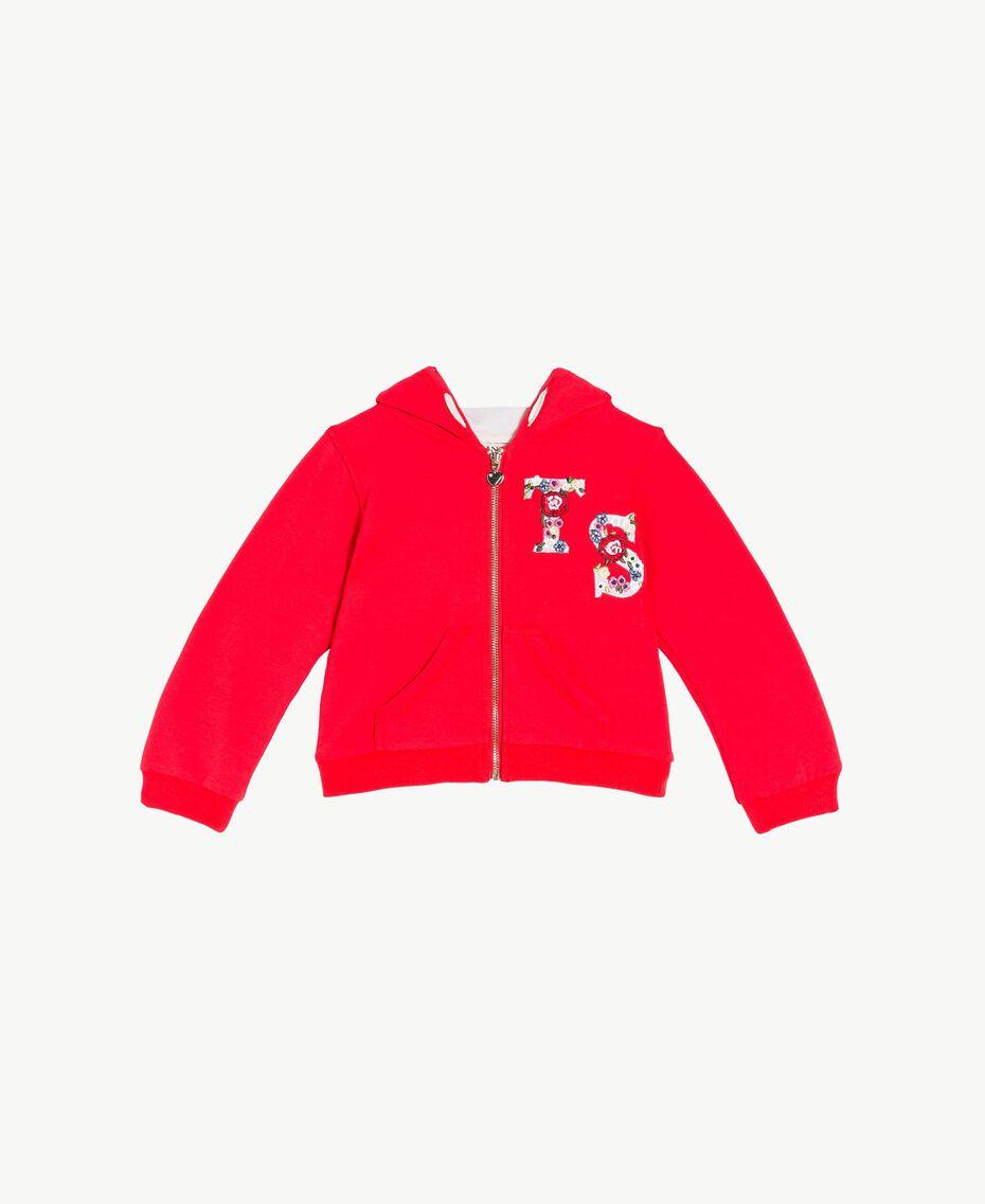 Logo sweatshirt Two-tone Pomegranate Red / Chantilly Flowers Child FS82SN-01