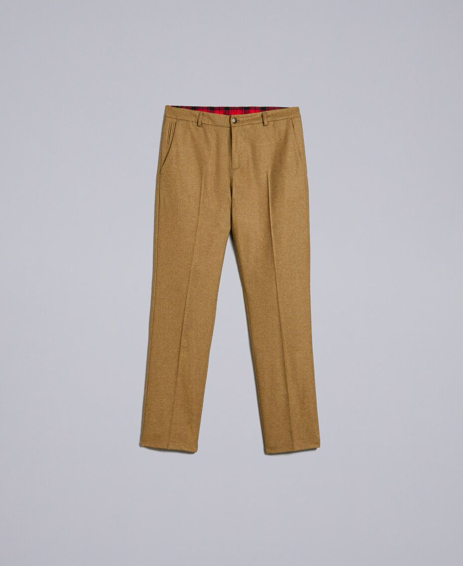 Pantalon en flanelle Marron «Toffee» Chiné Homme UA82C1-0S