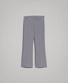 Zweifarbig gestreifte weite Hose Streifen Blue Shadow / Cremeweiß Frau 191ST2035-0S