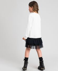 Dress with tulle, mesh and lace flounces White / Black Child 192GJ2431-03