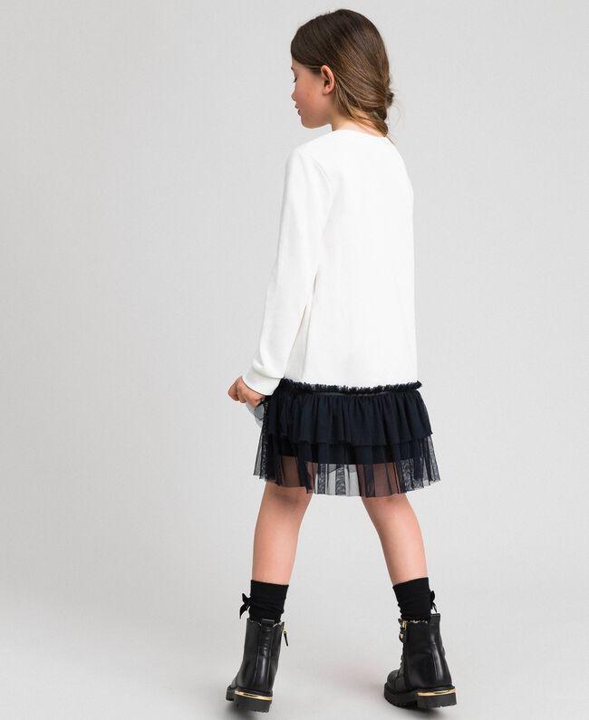 Robe avec volants en tulle, filet et dentelle Blanc / Noir Enfant 192GJ2431-03