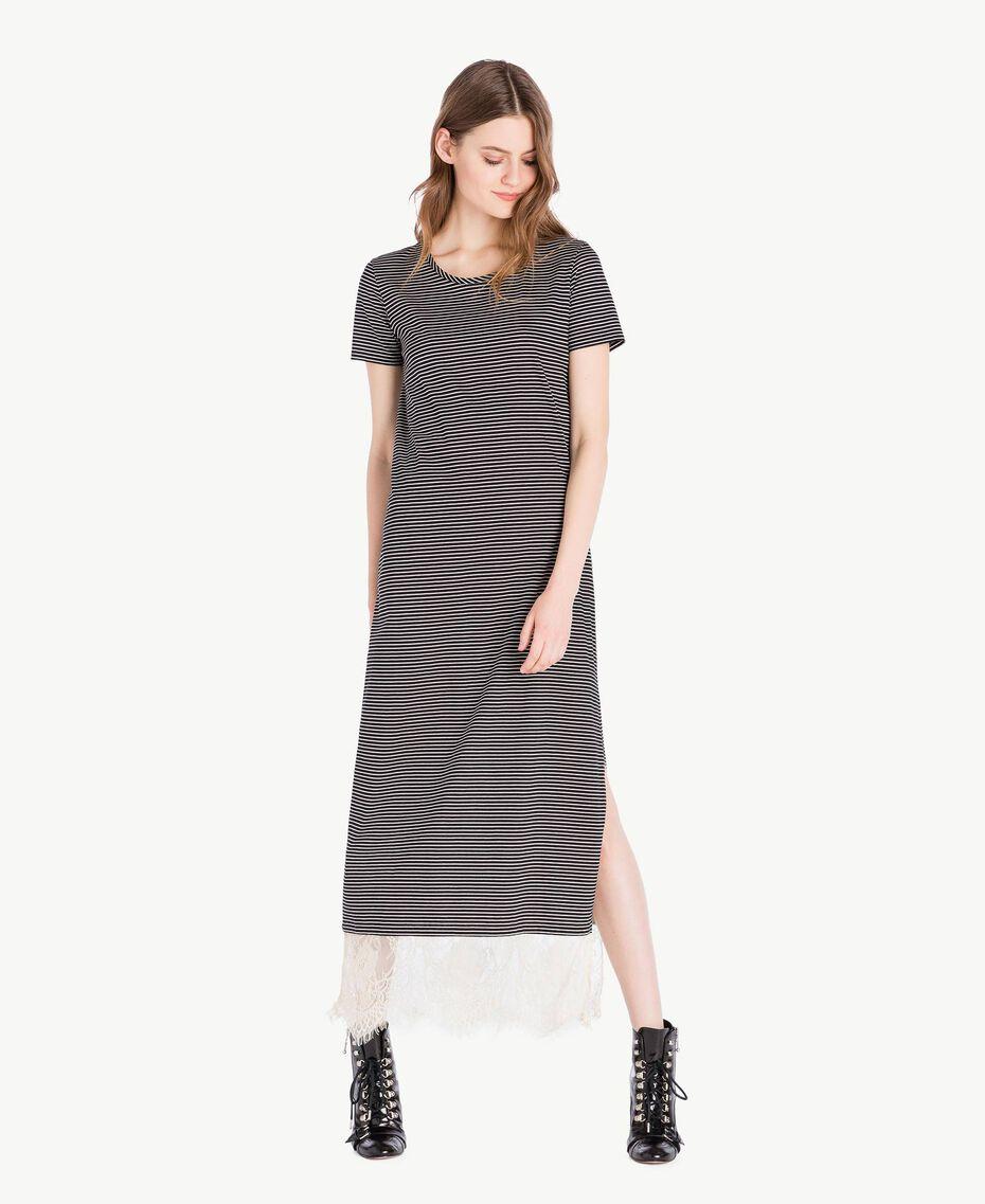 Langes Kleid mit Streifen Streifen Elfenbein / Schwarz Frau PS82H3-03