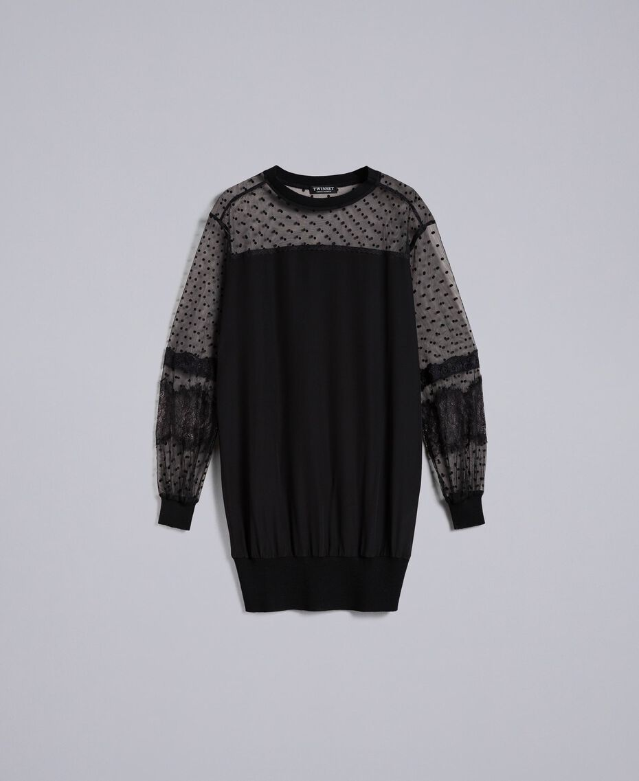 Maxisweatshirt aus Crêpe de Chine aus Seide Schwarz Frau PA82B4-0S
