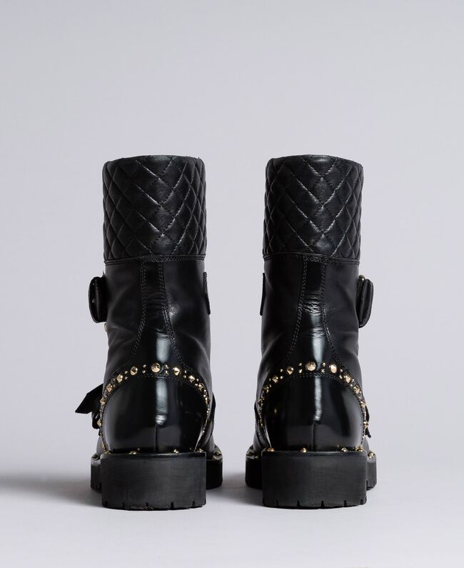 Leather combat boots with double buckle Black Woman CA8PLU-04