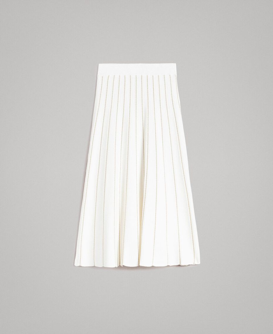 Mid-length skirt with lurex stripes Black Woman 191TP3253-0S