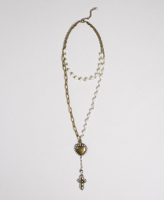 Rosary necklace with chains, heart and cross