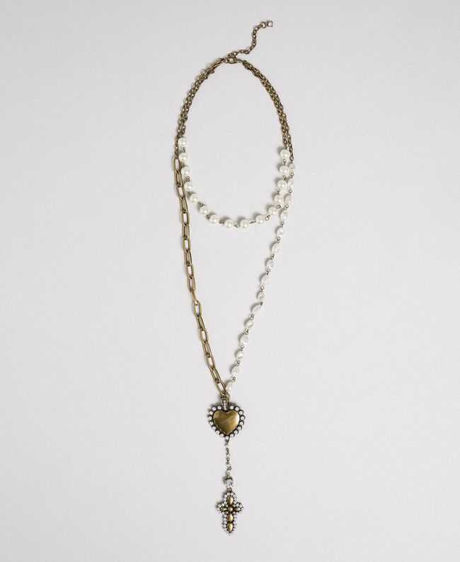 Rosary necklace with chains, heart and cross Aged Brass Woman 192TO530C-01