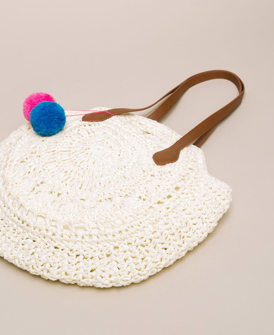 Raffia beach bag with pompoms Ivory Woman 201LM7LMM-02