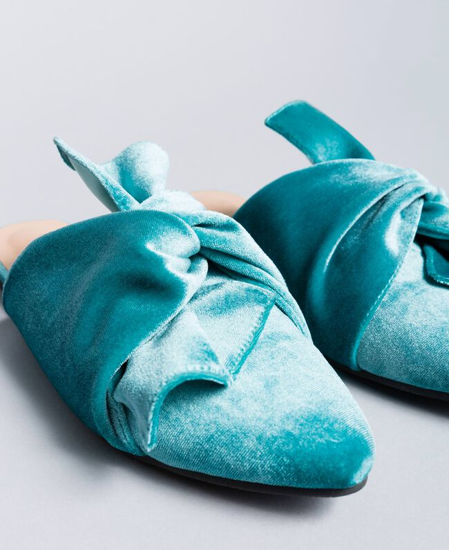 "Mules de terciopelo Azul ""Blue Melancholia"" Mujer LA8JFF-04"
