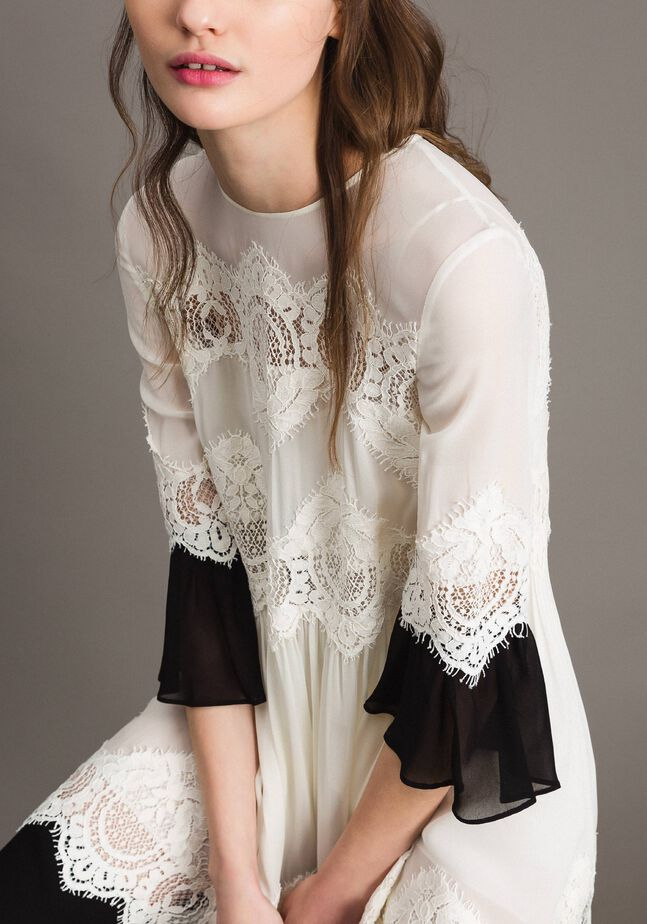 Georgette dress with lace