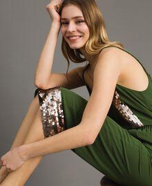 Pantalon cropped avec paillettes Vert Amazone Femme 191LM2CBB-01