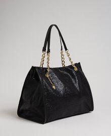 Reisetasche aus Lederimitat in Glitzeroptik Schwarz Frau 192LL7ZFF-02