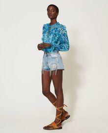 Denim shorts with bezel fringes Denim Woman 211TT2381-03