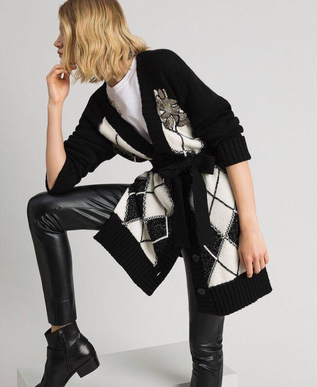 Maxi cardigan avec incrustation en losanges et broderie Noir Incrustation Femme 192TP3220-01