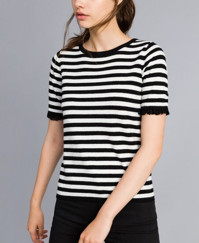 Striped cashmere blend top Black / Mother-of-pearl White Stripe Woman SA83FQ-01