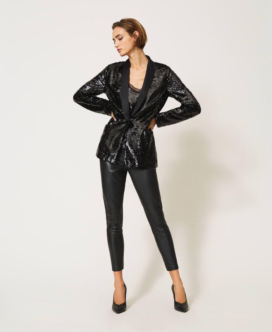 Full sequin jacket Black Woman 202TP2110-01