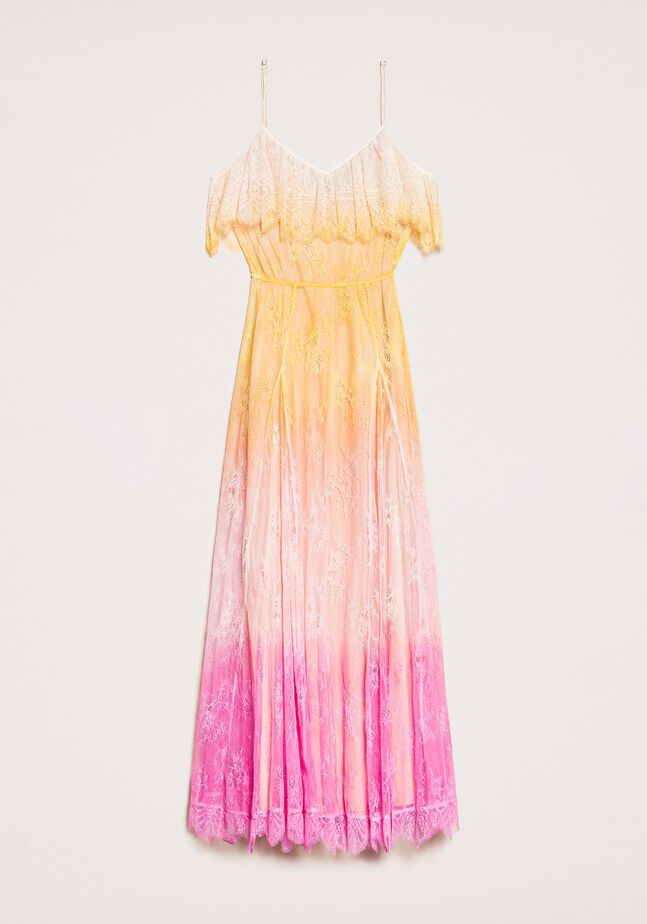 Tie-dye lace long dress