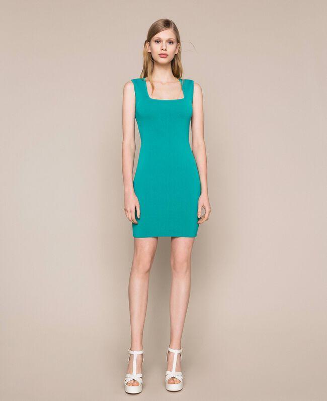Knit sheath dress Tea Leaf Green Woman 201TT3180-01