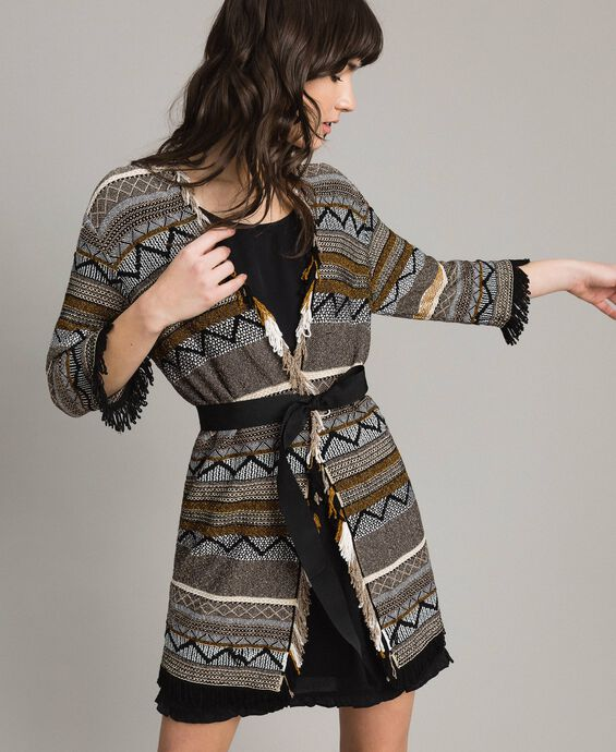Maxi cardigan with inlay details and fringes