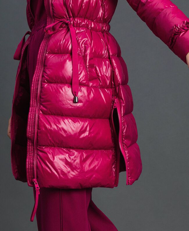 Long quilted padded jacket with real down Beet Red Woman 192TP2201-03