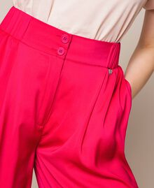 Flowing satin palazzo trousers Wild Rose Woman 201MT2032-04
