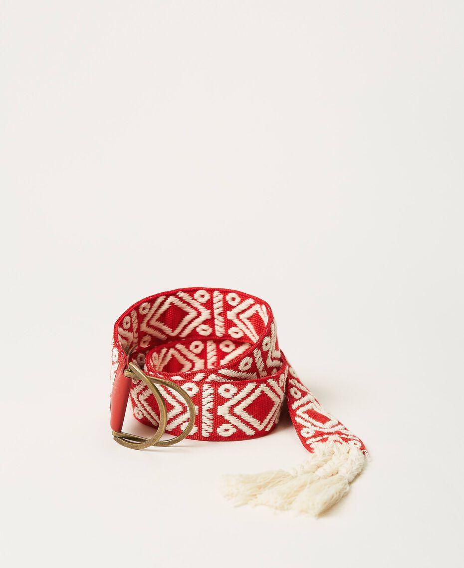 Cinturón de jacquard con borlas Jacquard Étnico Blanco «Nieve» / Negro Mujer 211TO5067-01