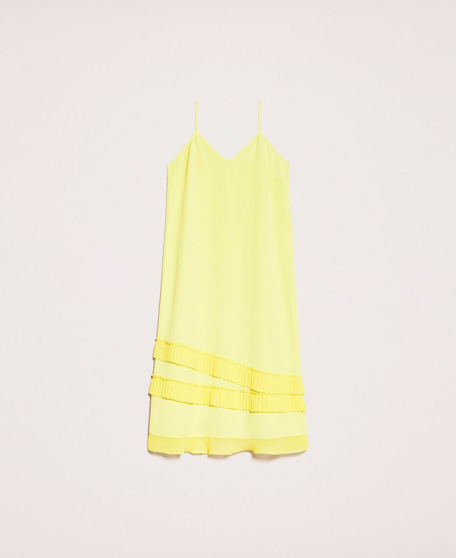 "Pleated crêpe de Chine slip dress ""Light Lemon"" Yellow Woman 201ST2015-0S"