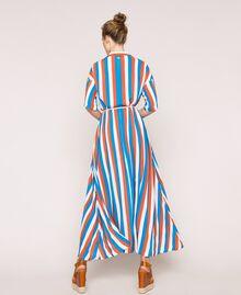 "Long striped shirt dress Multicolour ""Bay"" Blue / ""Choco"" Brown / Optical White Woman 201LM2FBB-03"