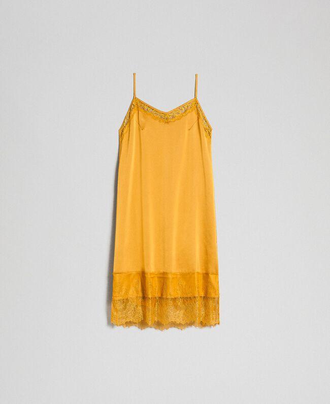 Robe nuisette en satin et dentelle Jaune Safran Femme 192MP2132-0S