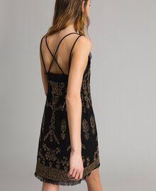 Leinen-Kleid mit Perlen und Pailletten Schwarz Frau 191TT2063-03