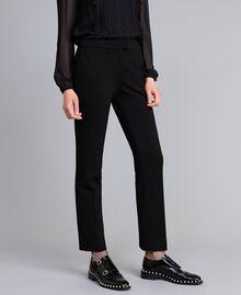 Pantalon cigarette en point de Milan Noir Femme PA8219-02