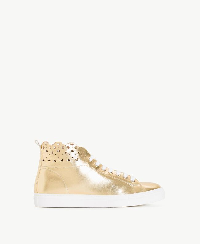 TWINSET Scalloped sneakers Gold Yellow Woman CS8TFW-01
