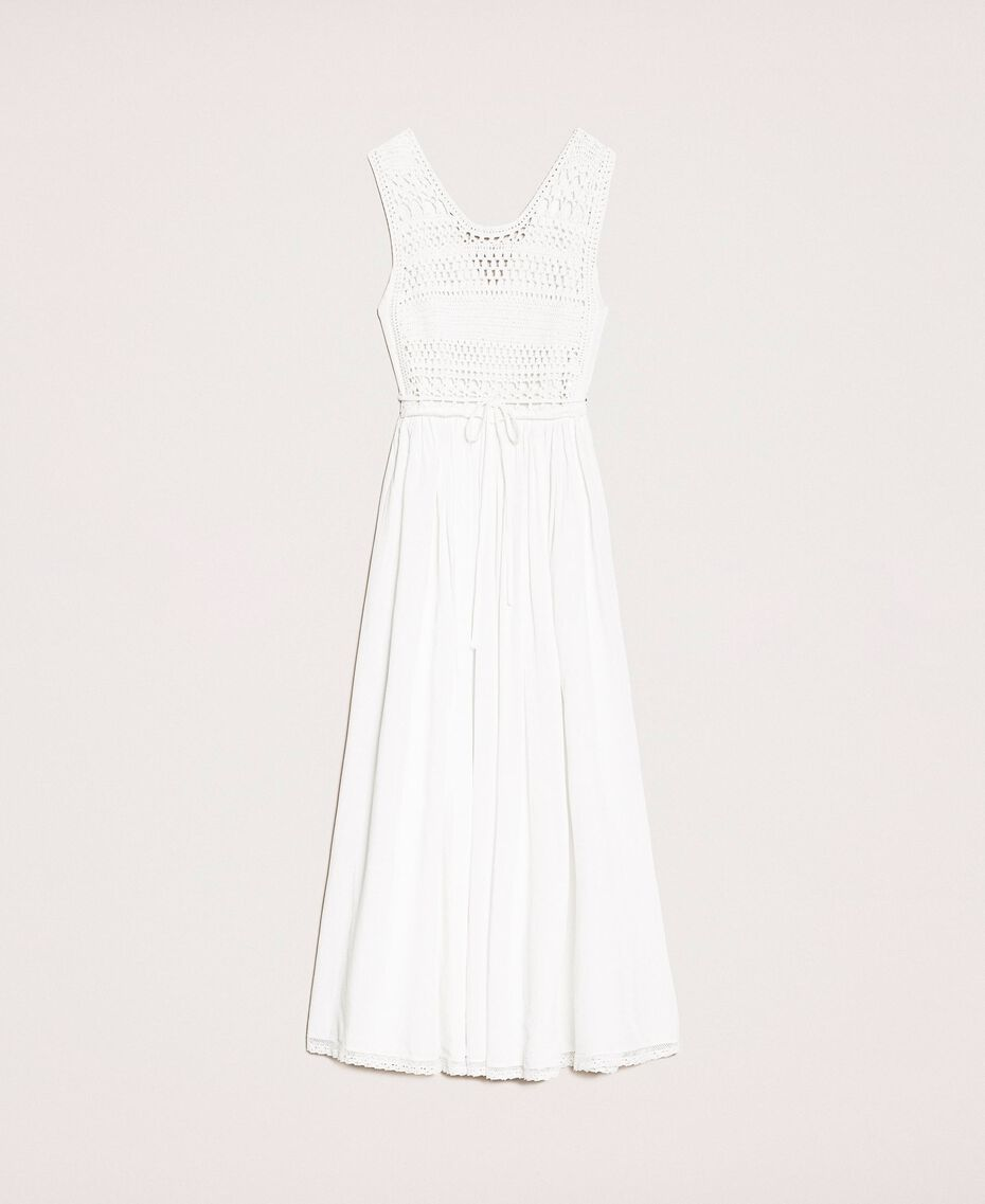 Long dress with crochet Black Woman 201LB36AA-0S