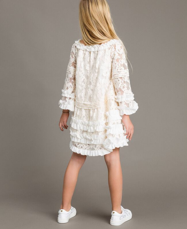 Robe en dentelle avec ruchés Bicolore Chantilly / Blanc Optique Enfant 191GJ2QH0-03