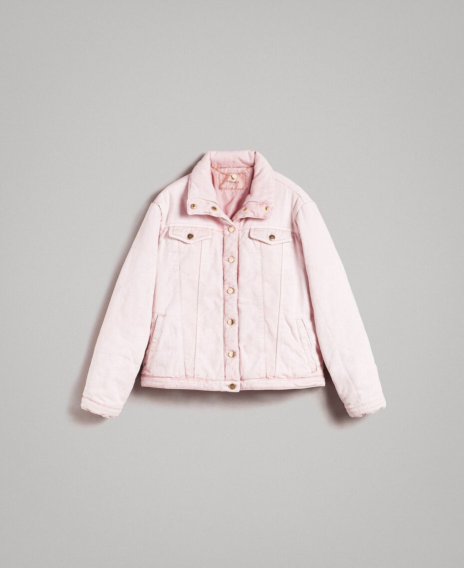 Padded denim jacket Pink Pearl Woman 191TP2340-0S