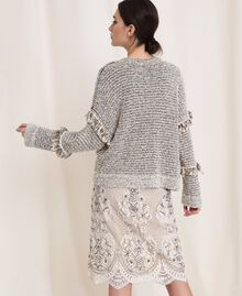 Twisted yarn jumper with lurex Multicolour Ivory / Black Woman 201TP3162-04
