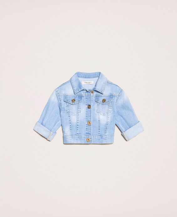 Boxy denim jacket with embroidery