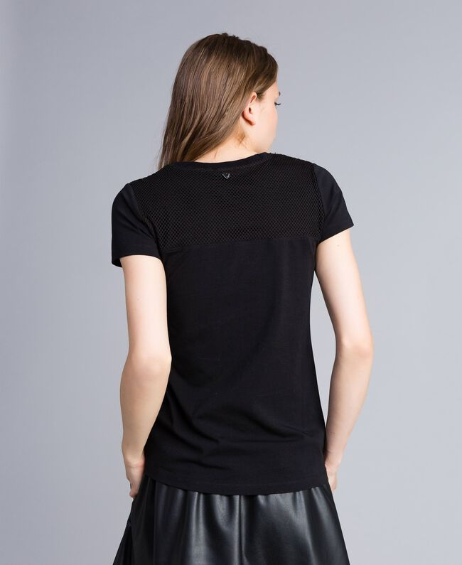 Sequin jersey t-shirt Black Woman JA82MT-03
