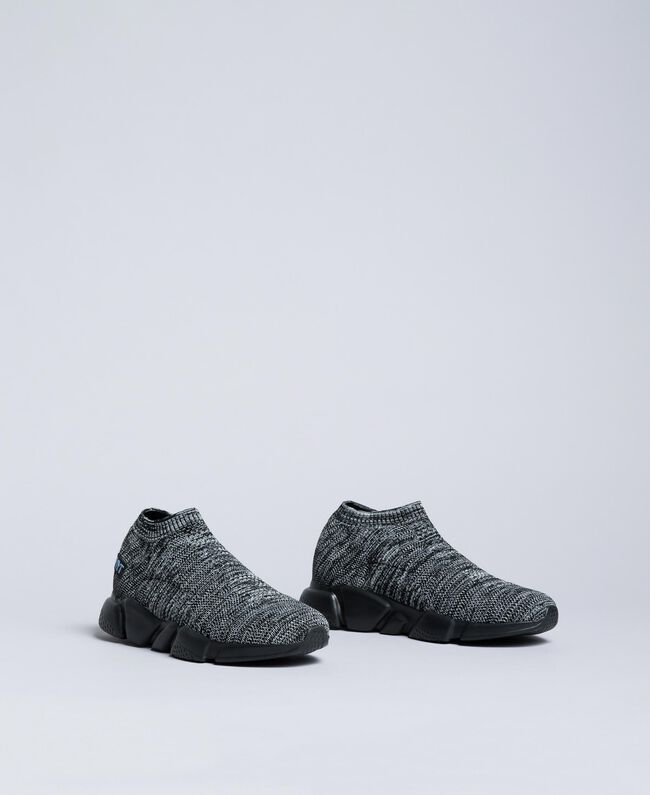Knitted slip on sneakers Dark Gray Mélange Man UA8C91-03