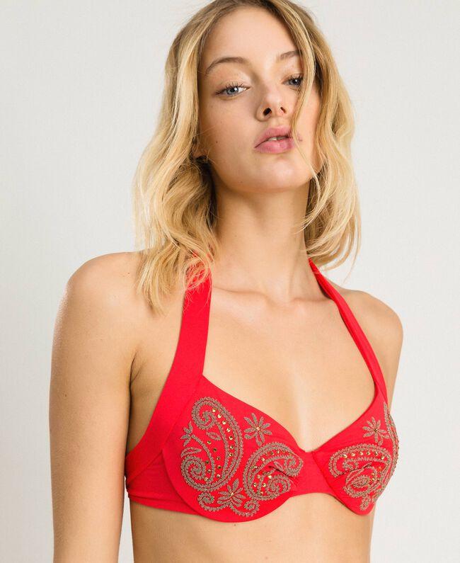 """Bügel-Bikinitop mit Stickereien und Strass """"Framboise"""" Rot Frau 191LMMR55-04"""