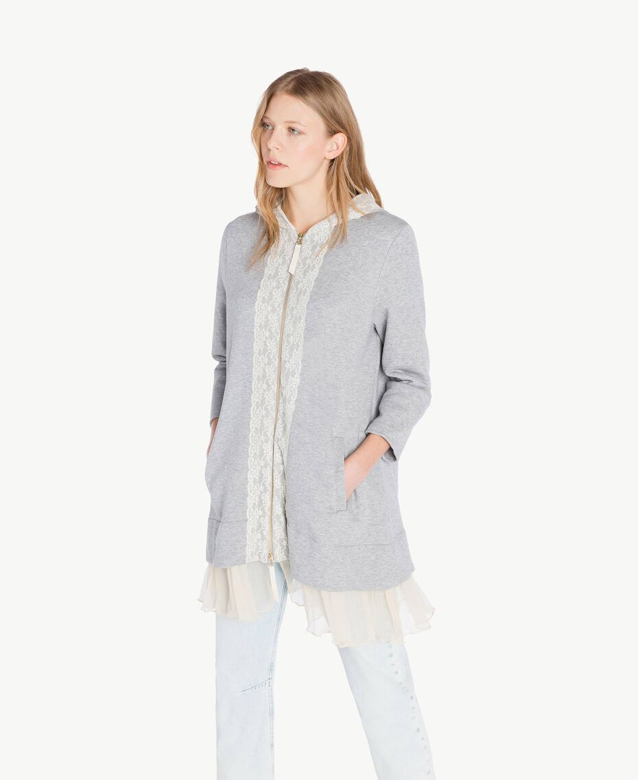 Maxi sweat-shirt Gris clair chiné Femme PS82UP-02