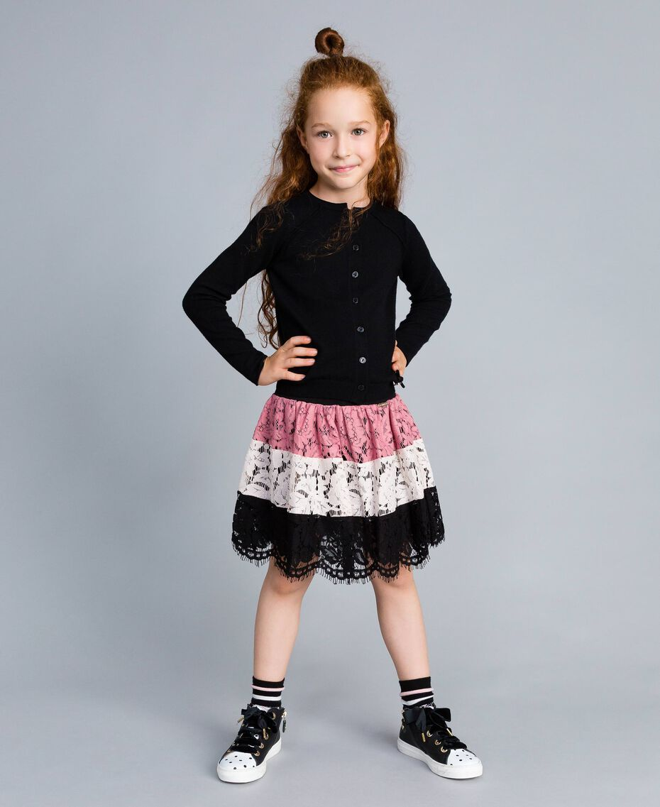 Jupe corolle en dentelle multicolore Multicolore Rose «Blush» / Noir / Roses Enfant GA82QB-02