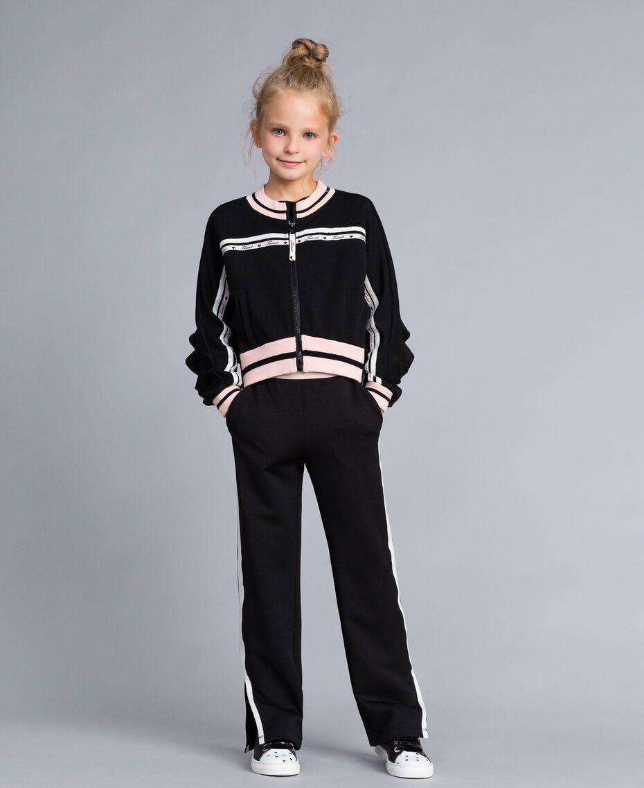 Pantaloni in tessuto tecnico con logo Bicolor Nero / Off White Bambina GA82PP-02
