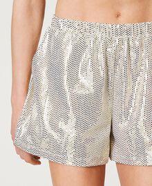 "Shorts a pois laminati Stampa Pois Bianco ""Avorio"" / Oro Donna 211LM21RR-05"